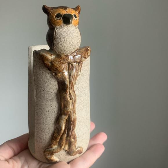 Vintage Owl Napkin Holder Ceramic Studio Pottery